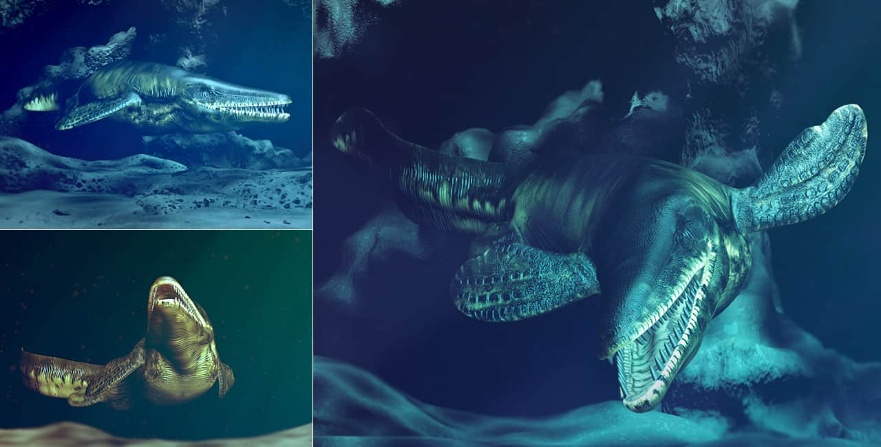 3d model mosasaur underwater prehistoric dinosaur