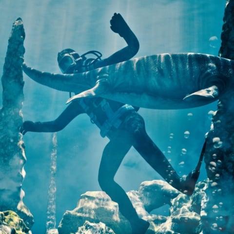Prehistoric Aquarium, 3d stereoscopic animation, dinosaur