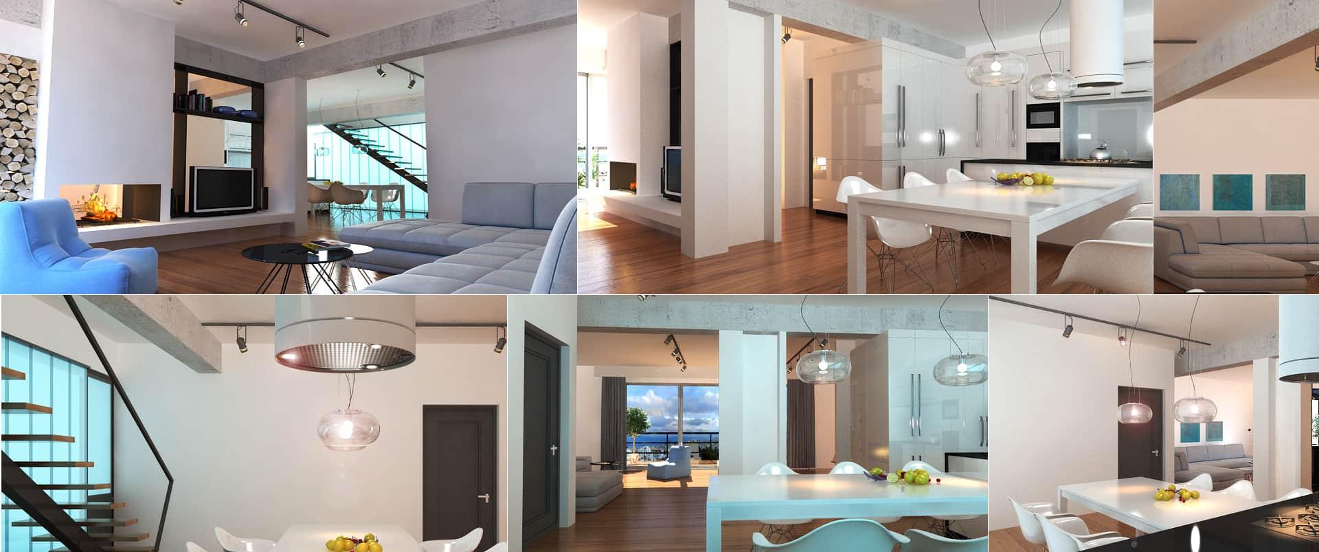 3d interior house greece