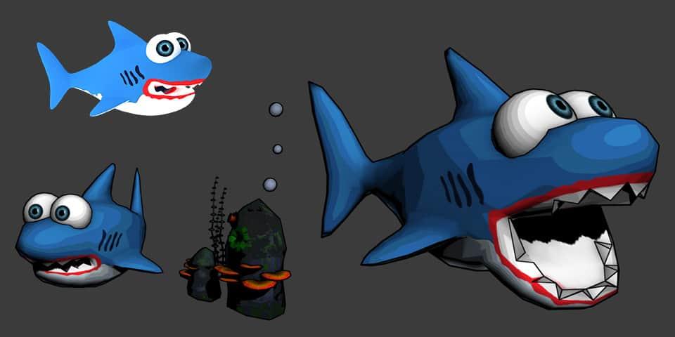sharky keto shark 3d cartoon character from psaroneis application