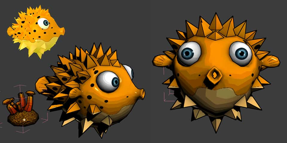 spicky pouf 3d cartoon character from psaroneis application