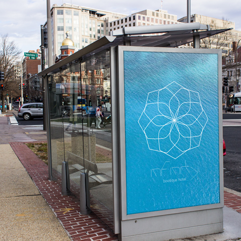 Bus Stop infinity blue Ad